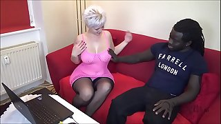 Black Fellow wigh MONSTER COCK Fucks German Houswife