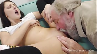 Old Goes Young - Gifted cutie rides old dick in cowgirl style