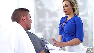 Painter coats busty horny blonde Chessie Kay's thick tits with loads of cum