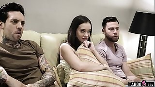 Stepsister leads on her horny stebrothers to DP her